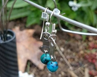 Earrings. Hand Made. Recycled Bicycle Chain Link .  FREE SHIPPING!! Blue Jewell