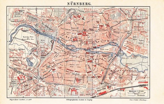 1888 City Map of Nuremberg or Nrnberg Germany at the end of