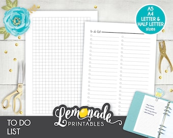 To do list Planner Insert Printable Planner Insert A5 Checklist planner Insert Printable to do list A5 filofax large kikki k A5 color crush