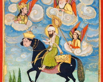 Islamic Art: Portrait of the Prophet Muhammed Riding the Buraq Steed (18th century). Fine Art Print (5064)