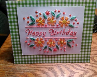 Happy Birthday, Hand Stitched Floral card