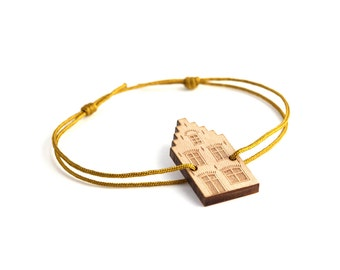 Dutch house bracelet - 25 colors - architecture bangle - customizable jewelry - adjustable length - lasercut maple wood - graphic jewelry