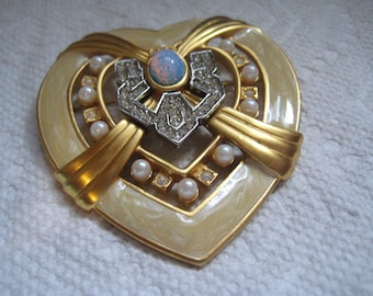 Elizabeth Taylor for AVON Heart of Hollywood  Brooch Crystal Faux Pearl Faux Opal and Enamel
