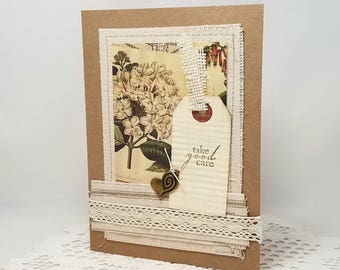Vintage Botanical Card - Mixed Media Card - Take Good Care - Kraft Card - Canvas Card - Blank Card - Rustic Card - Ivory Lace