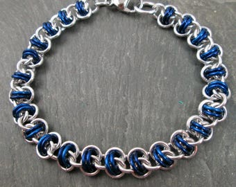 Chainmaille Bracelet - Barrel Weave - Blue and Silver - Chainmail Jewelry - Chain Mail Bracelet - Blue Chainmaille