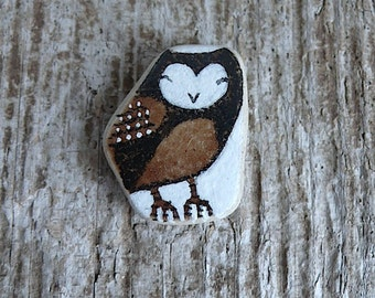 Brown and Black Beach Pottery Owl