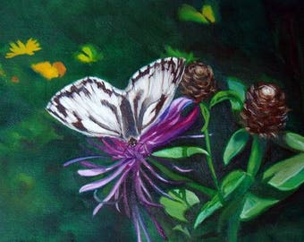 Butterfly, Original Oil Painting by Anne Zamo
