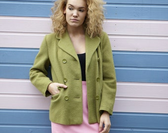 Vintage  Green Wool Jacket  made in  England 1960s