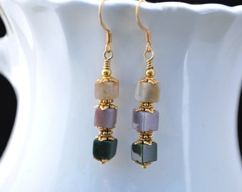 Fancy Jasper Earrings, Jasper Cube Dangle Earrings, Jasper Cube Drops, Jasper Stone Earrings, Fall Color Earrings