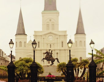 Living Room Wall Decor, New Orleans Art, St. Louis Cathedral Photography, Wall Art, Jackson Square Photo, French Quarter Print, Gift for Her