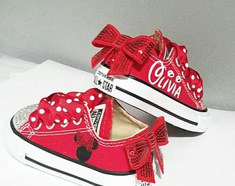 Red Converse, Crystal Shoes, Baby Toddler, Minnie Mouse, Personalized, Name, Sequin Bows, Sizes 2-10