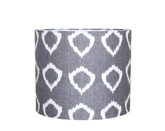 Lamp Shade Lampshade Drum Pendant Modern Grey Ikat Circle Hand Woven