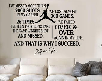 Michael Jordan jumpman Succeed quote Vinyl Wall Decal/Words/Sticker inspirational large