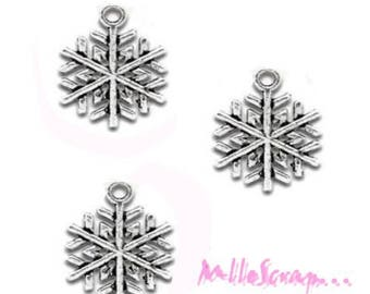 Set of 5 Christmas scrapbooking card 3 snowflakes charm *.