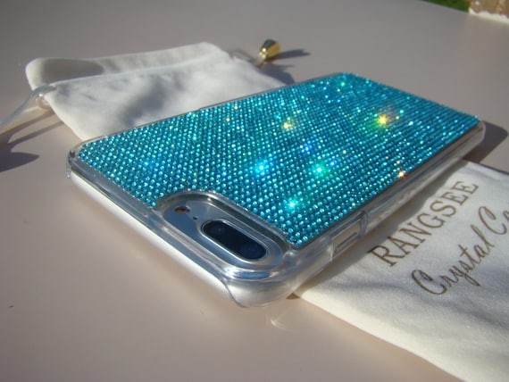 iPhone 8 Plus Case / iPhone 7 Plus Case Aquamarine Blue Rhinestone Crystals on Transparent Clear Case. Velvet Pouch Included,