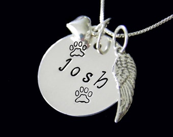 Pet In Memory Necklace, Remembrance Jewelry,  Personalized Hand Stamped Pet Necklace, Personalized Pet Jewelry