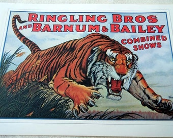 Vintage Circus Poster Print Leaping TIGER /  Trained Little Baby ELEPHANTS  Poster Size Book Plate