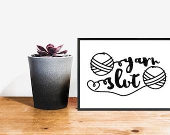 yarn art, printable art, craft room decor, yarn, wall art, typography print, gift for knitter, knit, crochet, knitting, best friend gift