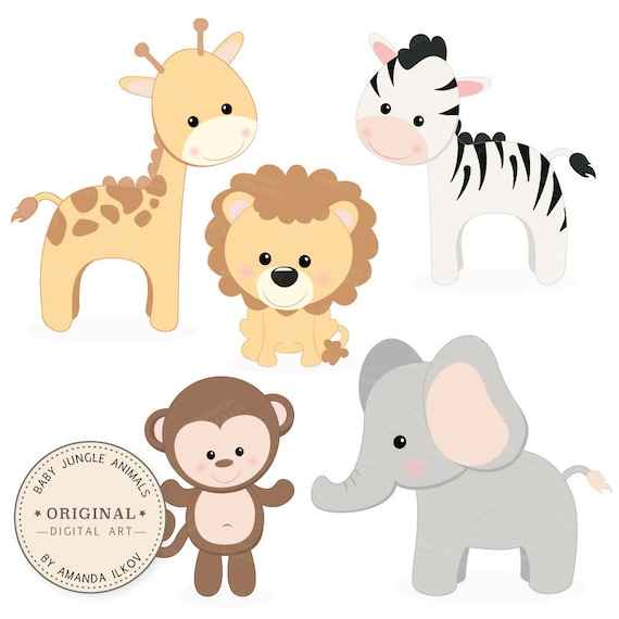 professional baby jungle animals clipart vector set baby rh etsy com Baby Shower Animal Clip Art baby jungle animals clipart scriptures