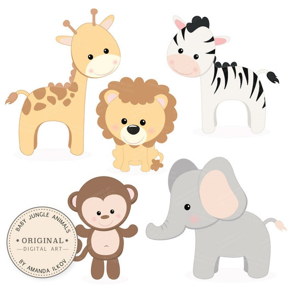 professional baby jungle animals clipart vector set baby rh etsy com baby jungle animals clipart scriptures baby jungle animal clipart free