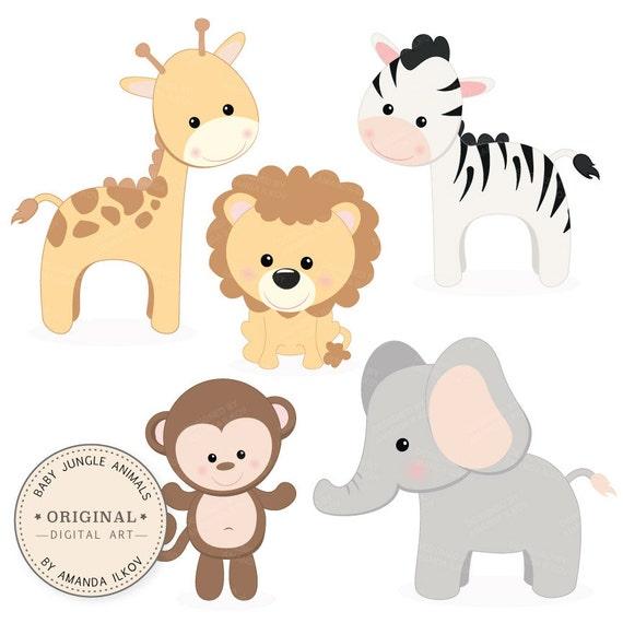 professional baby jungle animals clipart vector set baby rh etsy com jungle animal clipart border baby safari animal clipart