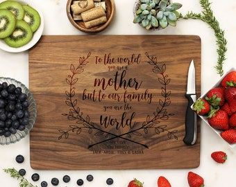 Mother's Day Gift, Custom Cutting Board, Mother's Day, Gift for Mom, Best Mom, Thank You Mom, Personalized Gift, Grandma --21222-CUTB-002