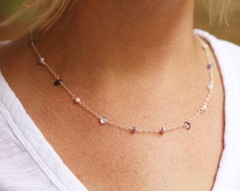 Delicate Stone Necklace, Gemstone Necklace, Gem Stone Necklace, Blue Stone Necklace, Everyday Necklace, Aquamarine Necklace, Blue Necklace
