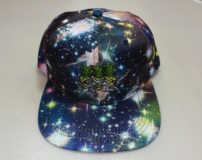 Snapback Flat-Brim Hat - Pineapples Don't Tell (One of a kind)