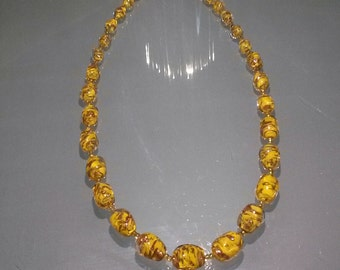 Murano jewelry, Very charmant and exclusive vintage modern murano 24k gold foil necklace