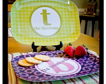 Melamine Platter, Personalized Serving Tray, Custom Platter, Hostess Gift, Housewarming, Mustard Color, Kitchen Decor, Monogram Platter