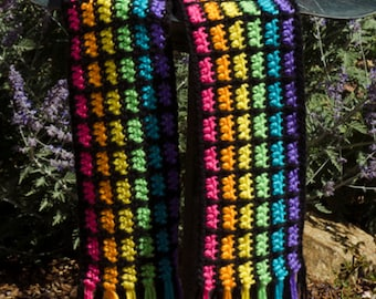 Crochet Scarf Pattern: Easy Rainbow Scarf, PDF download