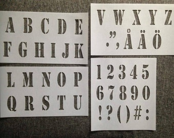 STENCIL alphabet LETTERS and NUMBERS plus basic separation marks