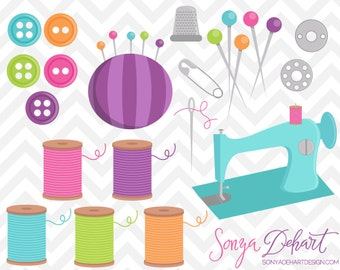 80% OFF SALE Sewing Machine, Clipart, Sewing Clipart, Sewing Clip Art, Buttons Clipart, Seamstress Clipart, Sewing Graphics, CA209