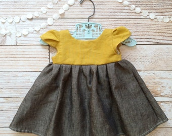 New born dress girl boho baby bohemian baby girl clothes newborn baby shower gift mustard gray baby girl coming home outfit natural linen