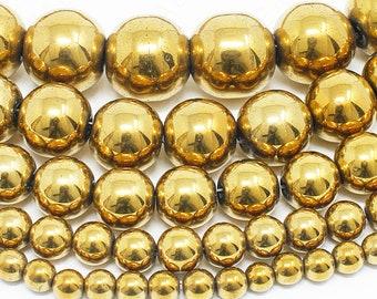 "Gold Hematite Beads Natural Gemstone Round Loose - 4mm 6mm 8mm 10mm 12mm - 15.5"" Strand"
