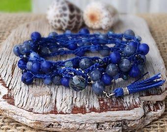 Blue Beaded Crochet Wrap Bracelet, Layering Multiple Strand Stacking Bracelet with Tassel, Boho Free Spirit Summer, Gift for Girlfriend