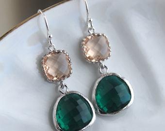 Emerald Green Champagne Blush Earrings Peach Pink Jewelry - Sterling Silver Earwires - Bridesmaid Earrings - Bridal Earrings
