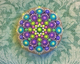Jewel Drop Mandala Painted Stone- painted by Elspeth McLean