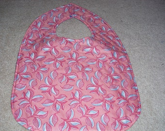 Pink with pink and blue flower print Adult Size Bib / Clothing Protector - Reversible