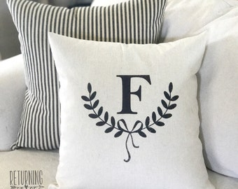 Farmhouse pillow cover, Personlized Pillow, Initial Pillow, Anniversary gift, Wedding gift, Housewarming gift, Initial Pillow Black or Gray
