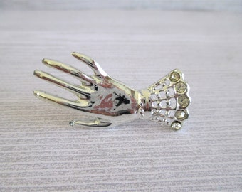 Vintage Victorian Styled Hand Brooch With Rhinestones