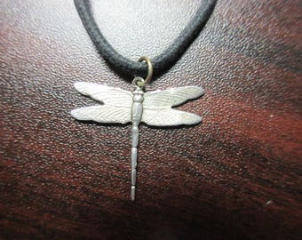 Sterling Silver Dragon Fly Pendant on Black Cord