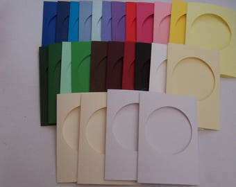 Five Round Aperture Cards 6 x 4 inches, Assorted , greeting cards blanks with 5 white envelopes, Aperture cards