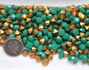 Swarovski 1100 Apple Green 29ss Foiled  Vintage Crystal Chatons 6 or 12 Pieces