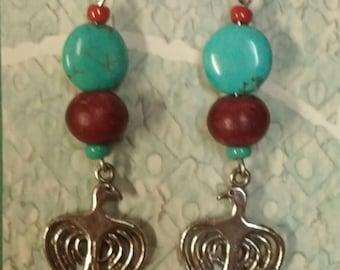 Handmade Silver Bird dangle earrings