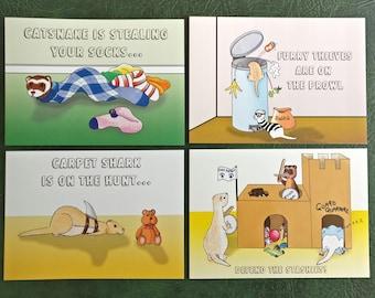 Ferret card, ferret birthday, greetings card, X 4, blank card, carpetshark, catsnake, A5