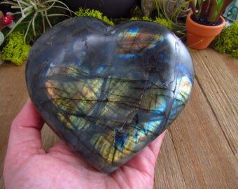 Labradorite Heart - Large Polished Labradorite Heart Specimen