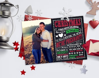 Christmas Pregnancy Announcements / Chalkboard Excitement, Photo / We're Expecting / Pregnancy Reveal Idea / Digital or Printed Cards