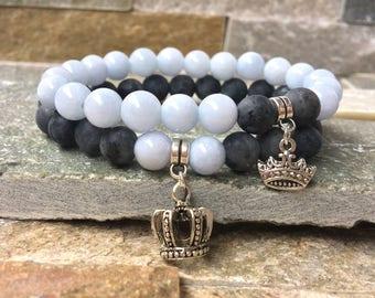 Partner bracelets Crown King & Queen bracelet set him and her jade Larvikitt 8mm long distance relationship