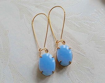 Pale Blue Opaque Glass Earrings, Vintage 70's Glass, Long Dangly Earrings, Gift for Her